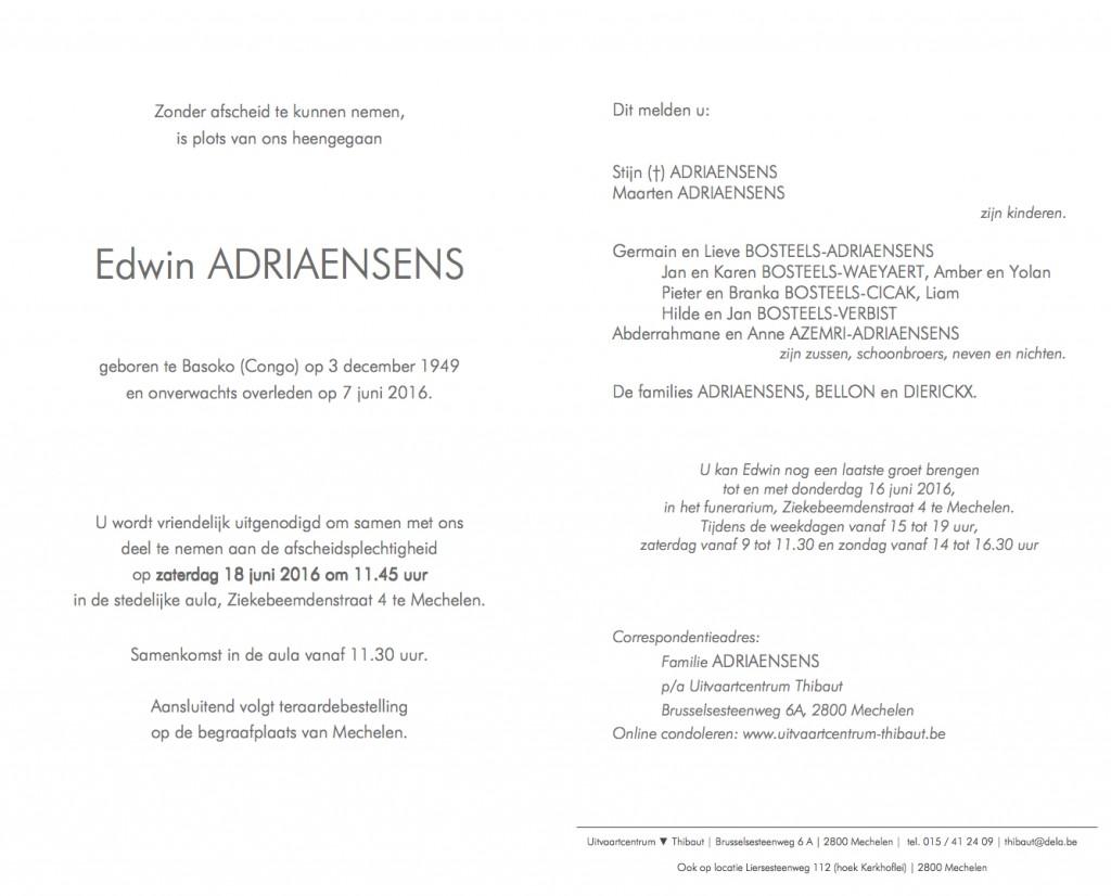 Adriaensens Edwin rouwkaart